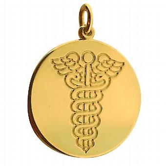 18ct Gold 19mm round medical alarm Disc