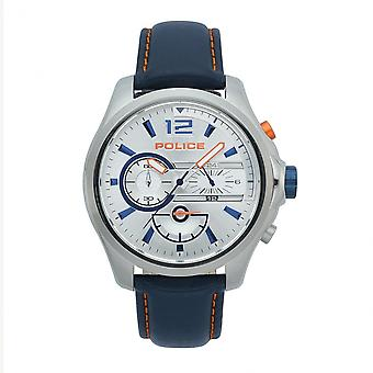 Police Watches 15403js-04 Denver Navy Blue Leather And Silver Stainless Steel Chronograph Watch