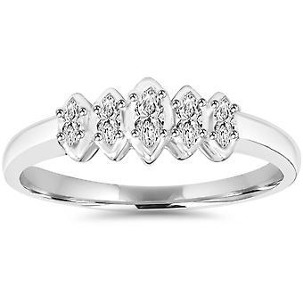 1 / 4CT маркиза алмазов кольцо 10K Белое золото