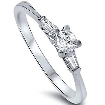 3/8ct Round Baguette 3 Stone Diamond Ring 14K Gold