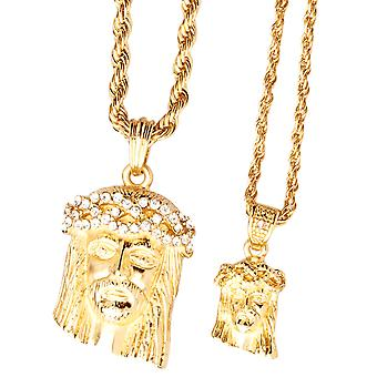 Iced out bling mini chain pendant set - 2 x JESUS gold