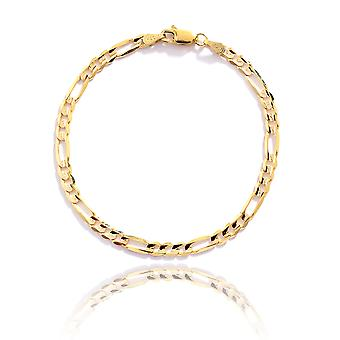 Floreo 10k Yellow Gold Figaro Chain Bracelet with Concave Look, 0.19 Inch (4.7mm)