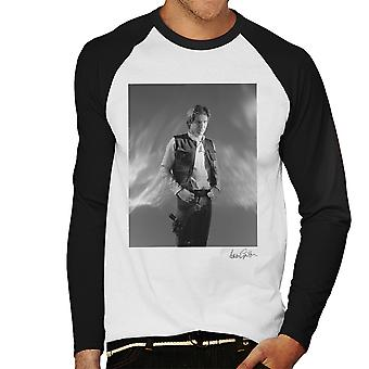 Star Wars Behind The Scenes Han Solo White Men's Baseball Long Sleeved T-Shirt