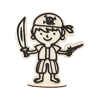 Wooden Pirate Crew Figure for Kids to Decorate - 17cm