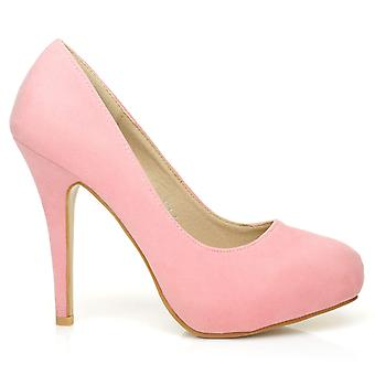 H251 Baby Pink Faux Suede Stiletto High Heel Concealed Platform Court Shoes