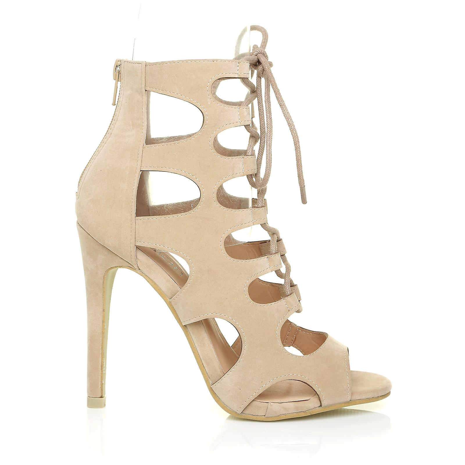 Sandals Gladiator Toe Suede Peep High Out Up Cut Lace Caged IVY Nude Heel 7qZwa