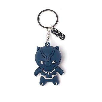 Marvel Comics Black Panther Kawaii 3D Rubber Pendant Keychain Keyring 10 cm Blue