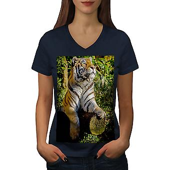 Tiger Sunshine Animal Women NavyV-Neck T-shirt | Wellcoda