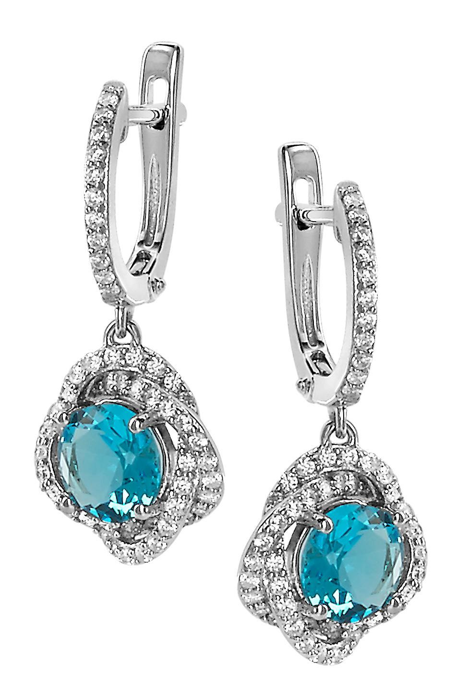 Orphelia argent 925 boucles d'oreilles Topaze Syn.bleu Zirconium ZO-7036