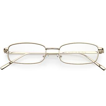Classic Metal Rectangle Eyeglasses Slim Arms Clear Lens 52mm