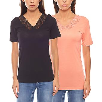 VERO MODA 2 Pack lace T-Shirt ladies black pink