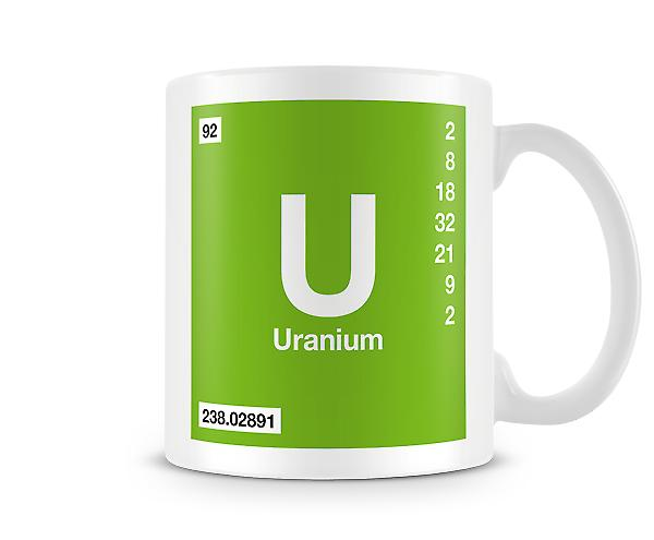 Element Symbol 092 U - Uranium Printed Mug