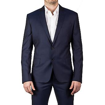Luciano Barbera Club Men's Slim Fit Two Button Wool Silk Suit Shiny Navy Blue