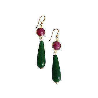 Gemshine - damas - pendientes - oro - Rubin - jade - rojo - verde - partido gotas - 5 cm