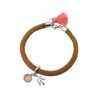 Gemshine - senhoras - pulseira - prata 925 - pedras preciosas - quartzo rosa - Angel - rosa - marrom