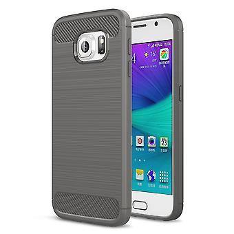 Samsung Galaxy S6 TPU case carbon fiber optics brushed protection cover grey
