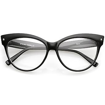 Women's Oversize Wide Arms Clear Lens Cat Eye Eyeglasses 58mm