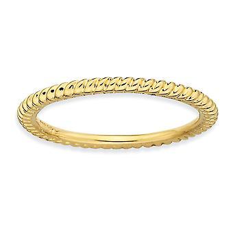 Plata de ley pulida expresiones apilable con anillo trenzado oro brilló - tamaño del anillo: 5 a 10