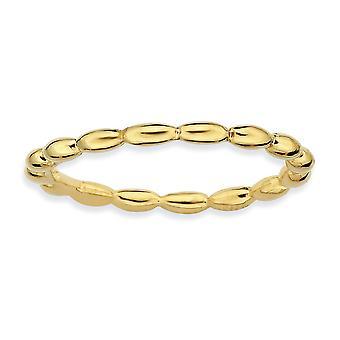 Sterling Zilver gepolijst gedessineerde stapelbare expressies goud-flitste rijst kraal Ring - Ringmaat: 5 tot 10