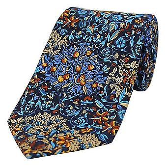 Posh and Dandy Trees and Leaves Luxury Silk Tie - Navy/Blue
