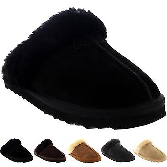 Womens Real Suede Australian Sheepskin Winter Fur Lined Warm Mules UK 3-10