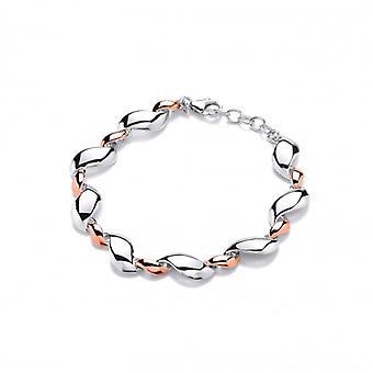 Cavendish Franse zilveren en Rose goud golven armband