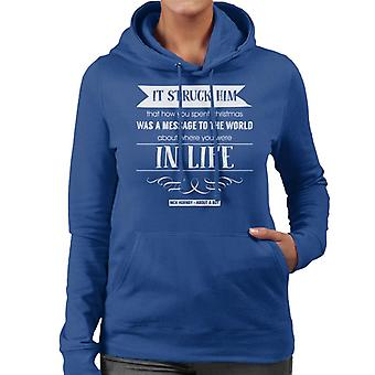 Nick Hornby About A Boy Christmas Quote Women's Hooded Sweatshirt