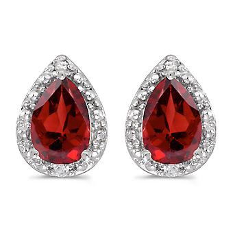 10k White Gold Pear Garnet And Diamond Earrings