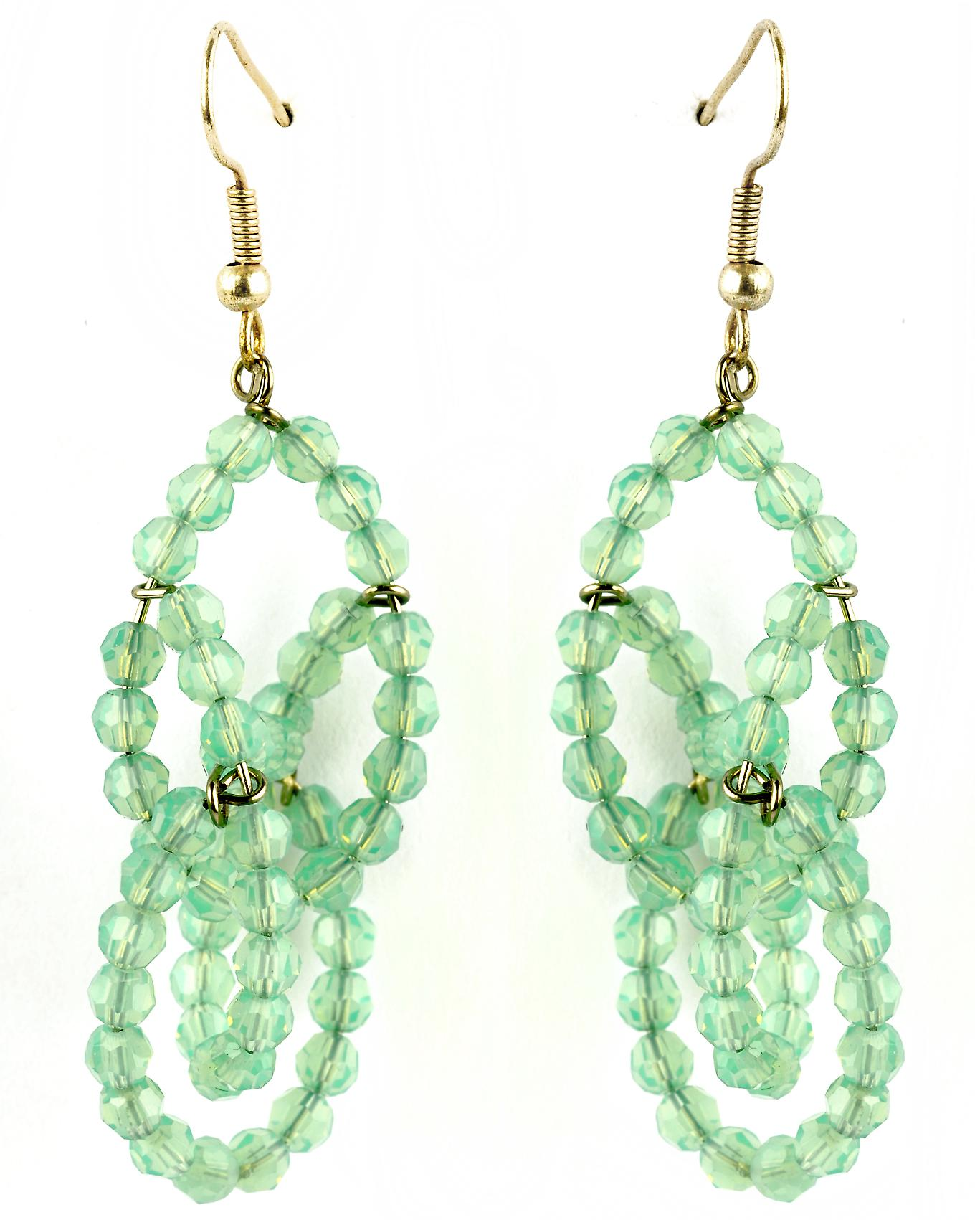 Waooh - Fashion Jewellery - WJ0744 - D'Oreille earrings with Swarovski Strass Green Transparent