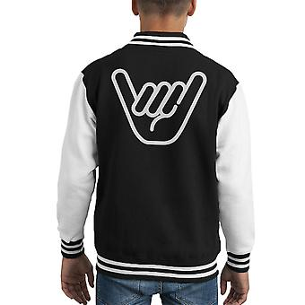 Shaka hånd Symbol barneklubb Varsity jakke