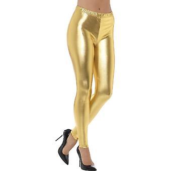 80's Metallic Disco Leggings, Gold