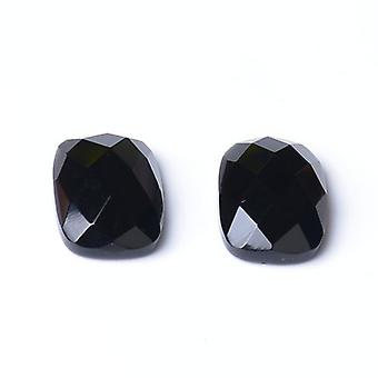 2x Black Onyx Flat Back 13x18mm Faceted Rectangle 5.5mm Thick Cabochon CB32655-4