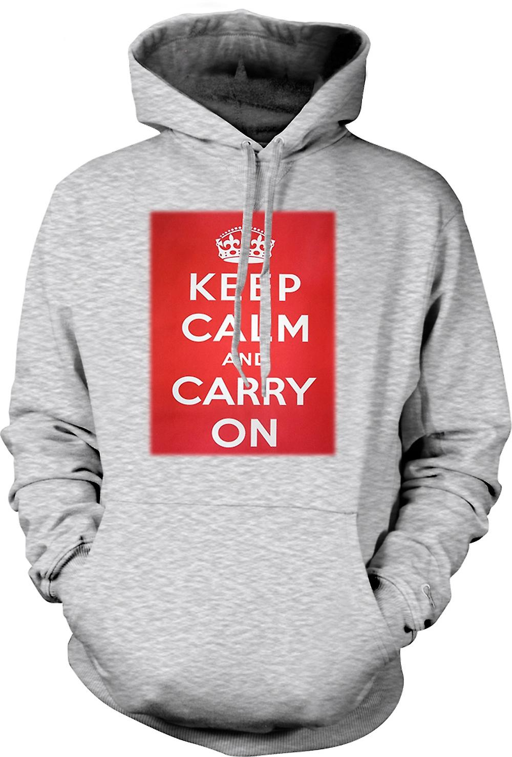 Mens Hoodie - Keep Calm And Carry On