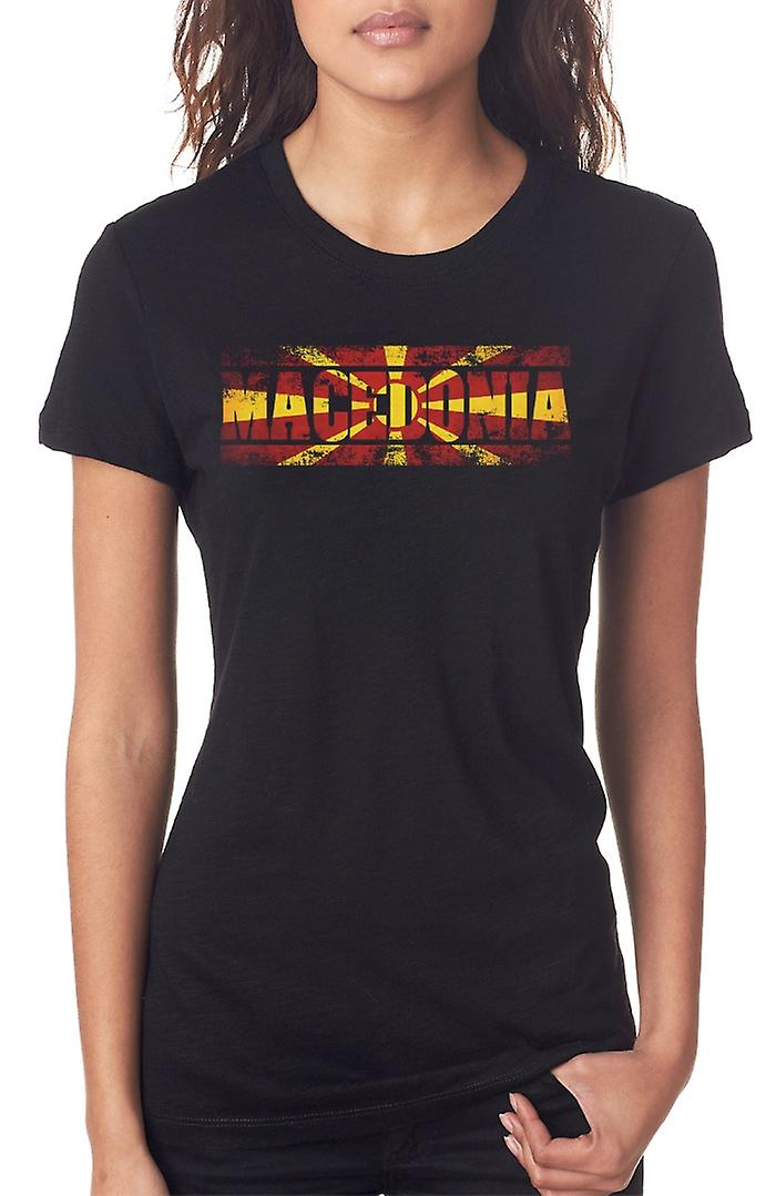 Macedonia Flag - Words Ladies T Shirt