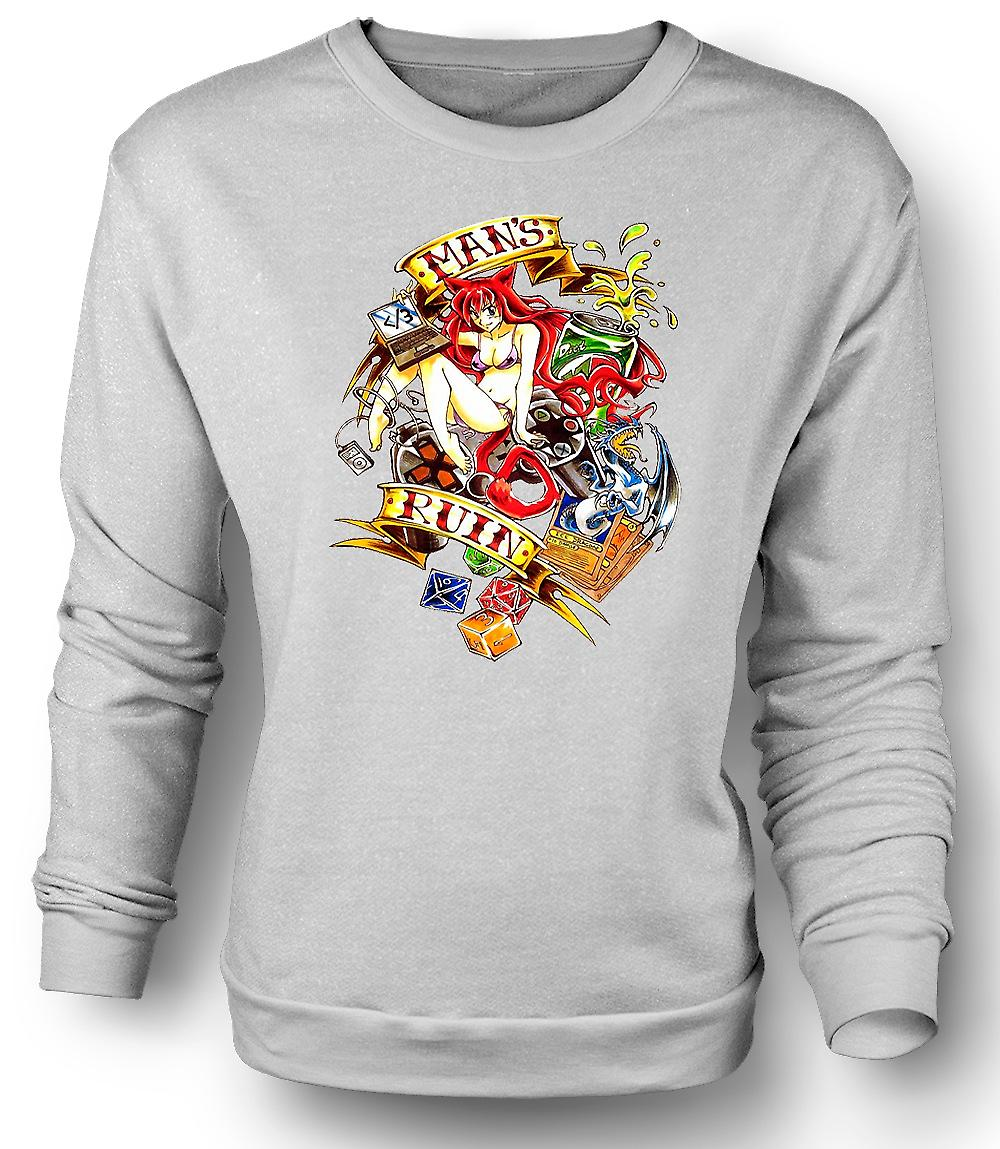 Mens Sweatshirt Modern Man's Ruin - Pinup Girl