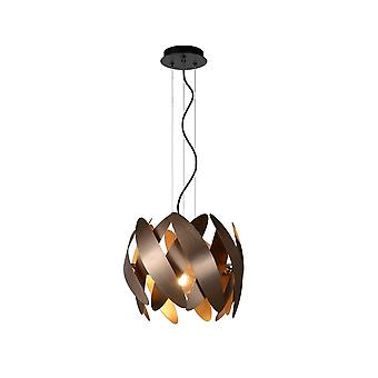Lucide Vivana Modern Round Aluminum Copper And Black Pendant Light