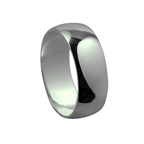 9ct White Gold plain D shaped Wedding Ring 8mm wide in Size T