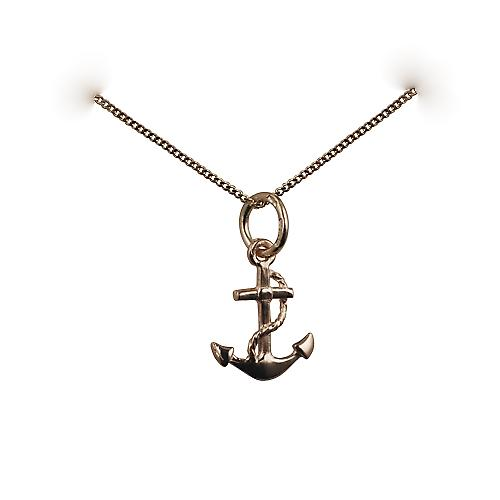 9ct Gold 11x10mm anchor symbol of hope Pendant with a curb chain