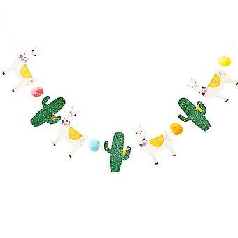 Viva La Fiesta Bunting Llama Cactus PomPom 2,5 m mexikansk fest