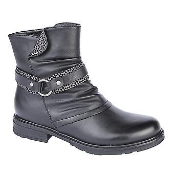 Ladies Womens Inside Zip Strap Grip Sole Ankle Biker Boots Shoes