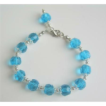 Aquamarine Crystals Dangling Sexy Bracelet Beads Bracelet Bali Silver