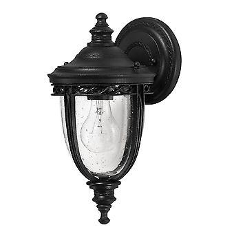 Engelsk tøjlen én lys lille væg lanterne sort - Elstead belysning