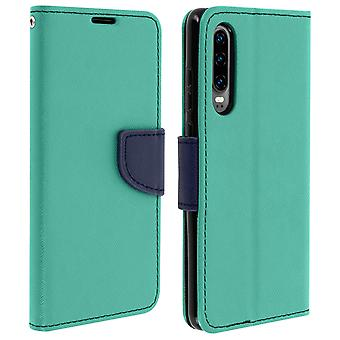 Fancy style cover, wallet case with stand for Huawei P30 - Green