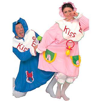 Baby kostym * * Rosa/blå (klänning haklapp Pantaloons Bonnet)