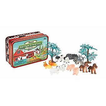 Barnyard Tiere In einem Zinn Playset