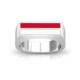 Boston University emalje ring i rødt og hvitt