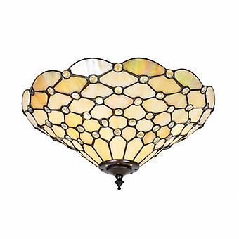 2 Light Medium Pearl Ceiling Flush Light Tiffany Style Glass