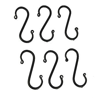 Hand Forged Wrought Iron Medium S Hooks Primitive Country Decor Set of 6