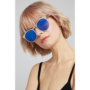 Louche Kiko Silver Round Metal Sunglasses Silver