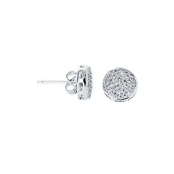 Earrings Round Deap Micro Pave Platinum [11, 8mm]